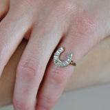 Edwardian Platinum/14kt Old Mine Cut Diamond Horseshoe Ring 0.50ctw