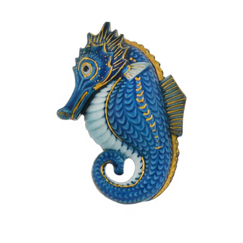 TOSHIKANE Japanese Vintage Sterling Painted Porcelain Seahorse Earrings