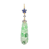 Art Deco 14kt/Platinum Carved Jade, Sapphire + Diamond Earrings
