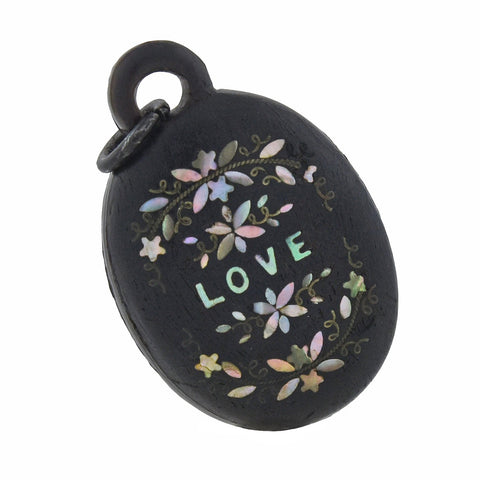 "Victorian Carved Gutta-Percha + Inlaid Abalone ""LOVE"" Pendant"