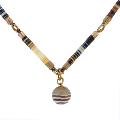 Victorian Gold Filled Banded Agate Link Necklace
