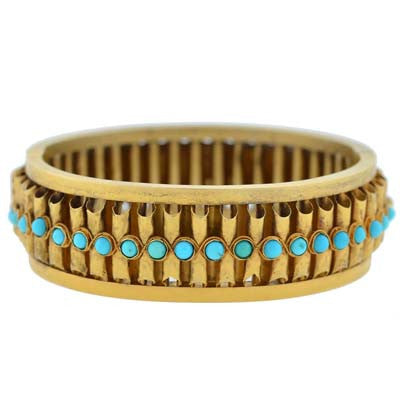 Victorian 15kt Gold Persian Turquoise Bangle Bracelet