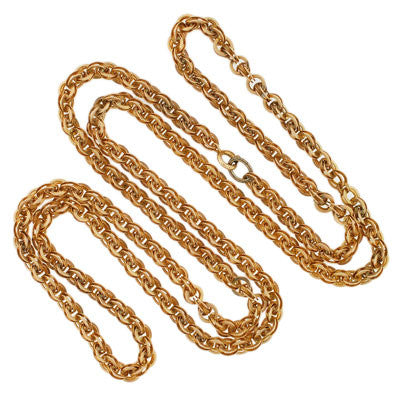 Victorian 14kt Yellow Gold Ornate Chain Necklace 27""