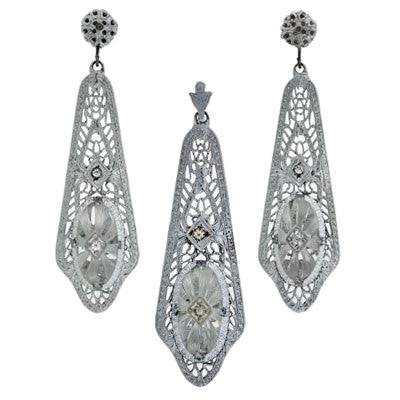 Late Art Deco Sterling Crystal & Diamond Filigree Set