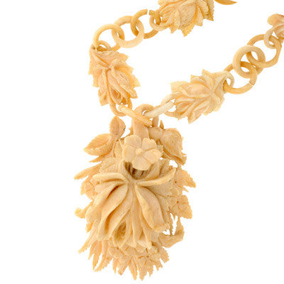 Victorian Hand Carved Bone Flower Locket & Chain