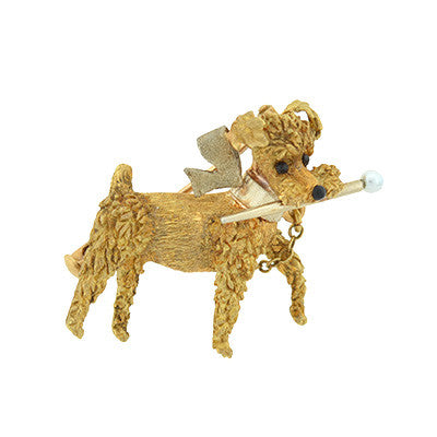 Retro 18kt Yellow Gold & Natural Pearl Dog Pin