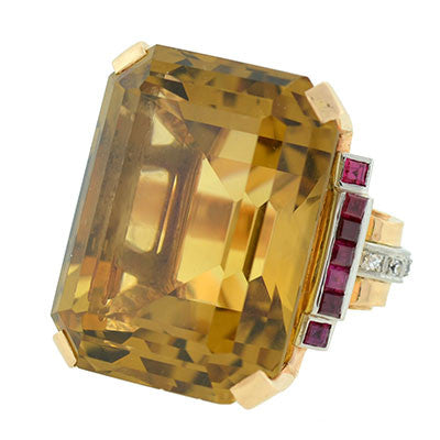 Retro Large 14kt Citrine, Ruby & Diamond Cocktail Ring