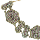 Arts & Crafts Hungarian Sterling Pink Sapphire & Pearl Bracelet