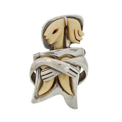 SALVADOR TERAN Vintage Mexican Sterling & Ivory Pin