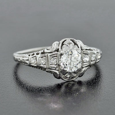 Art Deco 18kt White Gold & Diamond Engage Ring .46ct