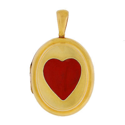 Victorian Large 14kt Gold & Red Enamel Heart Locket