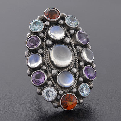 Early Retro Sterling Multi Stone Cluster Ring