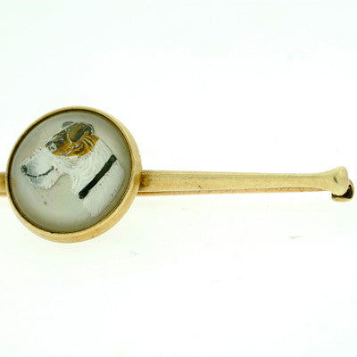 Edwardian 14 kt & Reverse Carved Crystal Hunting Pin