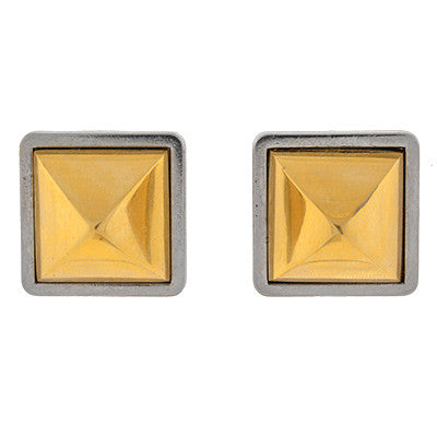 HERMES PARIS Vintage Two-Tone Pyramid Clip Earrings