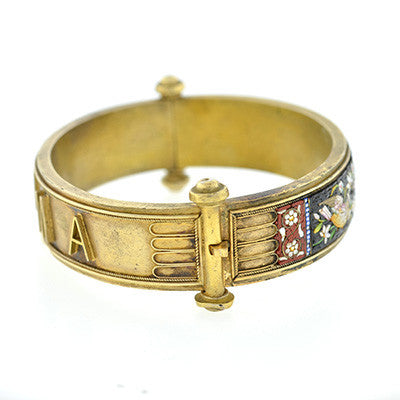 Victorian Gilded Silver Micro Mosaic Bracelet