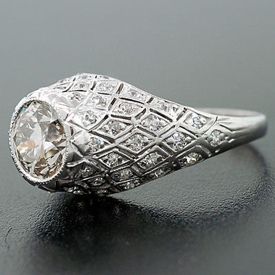Art Deco Platinum & Diamond Engagement Ring 1.22ct