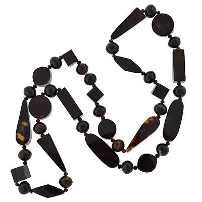 Victorian Tortoise Shell Long Beaded Necklace
