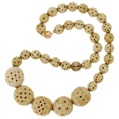 Late Victorian Hand Carved Bone Bead Necklace A Brandt Son