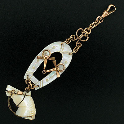 Victorian G.F. & Mother of Pearl Horse Fob/Pendant