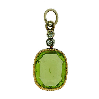 Victorian 14kt Peridot & Rose Cut Diamond Pendant