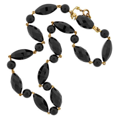 Victorian 14kt Gold & Faceted Onyx Bead Necklace
