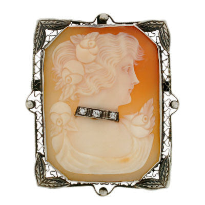 Late Victorian 14kt Diamond Carved Cameo Pin/Pendant