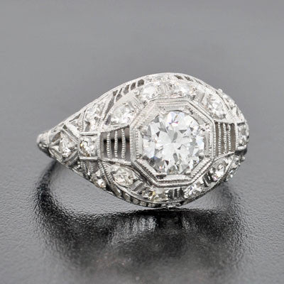 Art Deco Platinum & Diamond Filigree Engagement Ring .72ct