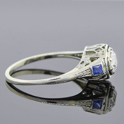 Art Deco 18kt Diamond & Sapphire Engage Ring .46ct