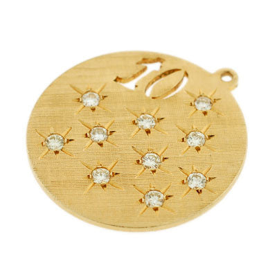 Vintage 14kt Gold & Diamond Circle 10 Pendant