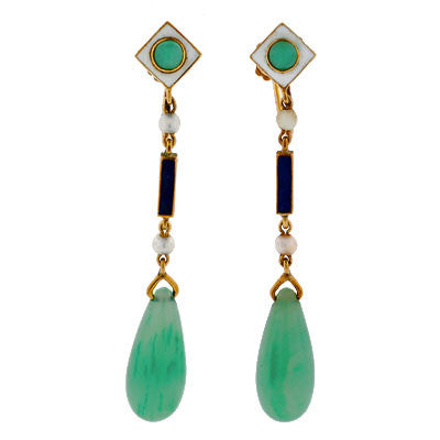 Art Deco 14kt Enamel Seed Pearl & Jadeite Earrings