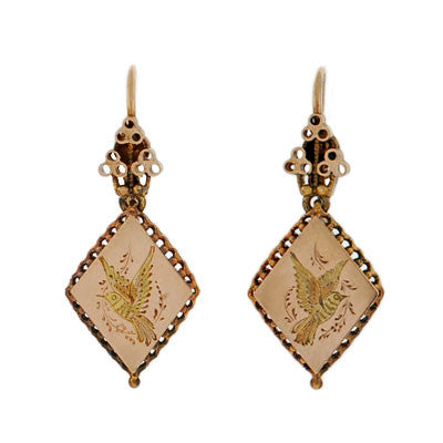 Victorian 14kt Etched Bird & Fine Wirework Earrings