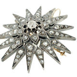 Victorian Sterling Topped Diamond Starburst Pin/Pendant