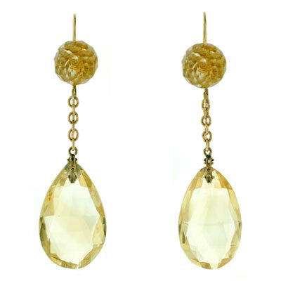 Art Deco 14kt Yellow Gold & Faceted Citrine Earrings