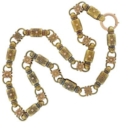 Victorian 15kt Yellow Gold Etruscan Book Chain Necklace