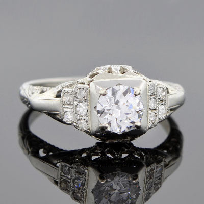 Art Deco 18kt Gold Diamond Engagement Ring .67ct