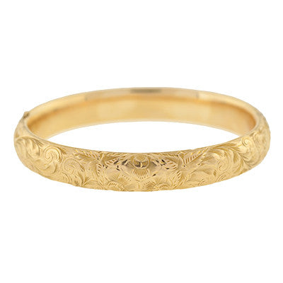 Victorian 14kt Yellow Gold Etched Bangle Bracelet