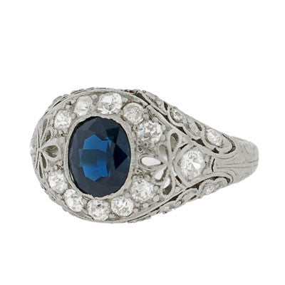 Art Deco Platinum Sapphire & Diamond Ring .85ct