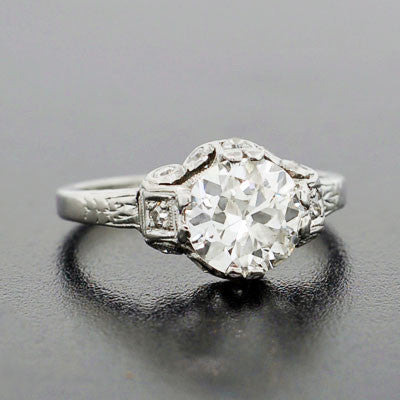 Art Deco Platinum & Diamond Engagement Ring 1.68ct