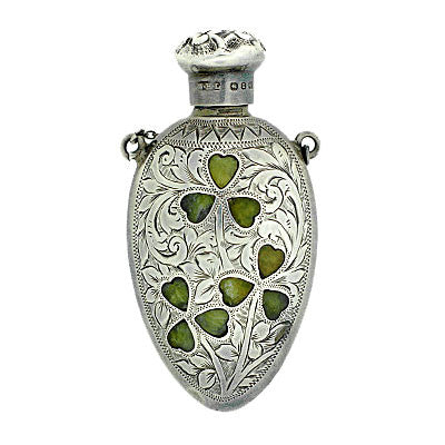 Victorian Sterling & Inlaid Agate Clover Perfume Bottle