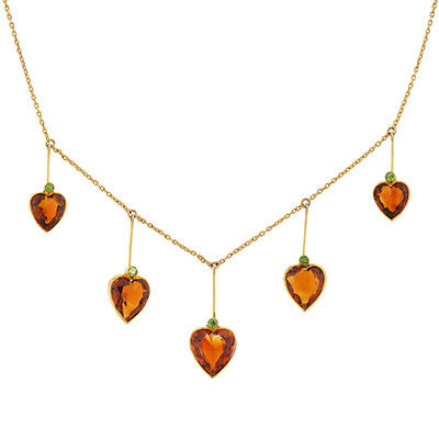 Art Nouveau 9kt Madeira Citrine & Demantoid Heart Necklace