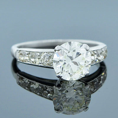 Art Deco Platinum & Diamond Engagement Ring 1.90ct