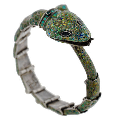 MARGOT Vintage Sterling & Enamel Serpent Bracelet