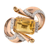 Retro Citrine & Diamond Pin With 18kt & Platinum