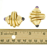 Estate 18kt Gold Amethyst Seashell Clip-On Earrings