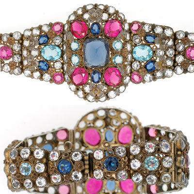 DeROSA Retro Crystal Bracelet & Fur Clip Set