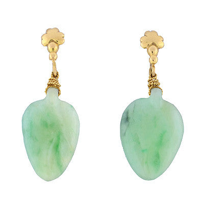 Vintage 18kt Yellow Gold & Carved Jadeite Earrings
