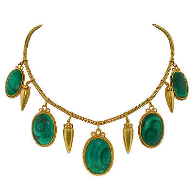 Victorian Huge 15kt Gold Urn & Malachite Necklace