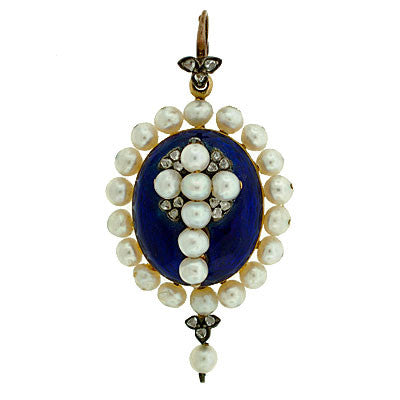Victorian Enameled Locket with Pearl & Diamond Cross