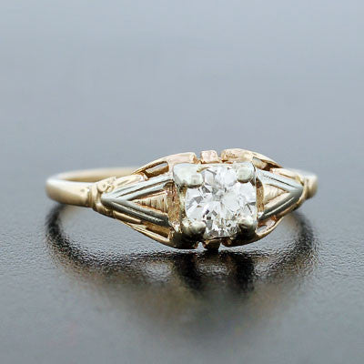 Late Art Deco 14kt Mixed Metals Diamond Engage Ring .45ct