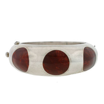 Vintage Mexican Sterling & Inlaid Bakelite Hinged Bangle Bracelet